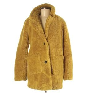 Sebby Collection Mustard Sherpa Teddy Bear Coat